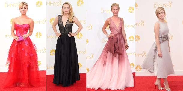 Kaley Cuoco-Sweeting in Monique Lhuillier, Kate McKinnon in J. Mendel, Cat Deely in Burberry, Kiernan Shipka in Antonio Berardi