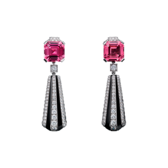 Cartier Royal Collection - Pink Spinels, Onyx and Diamond Earrings - courtesy of cartier.us