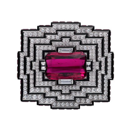 Cartier Royal Collection - White Gold, Rubellite and Diamond Brooch - courtesy of cartier.us