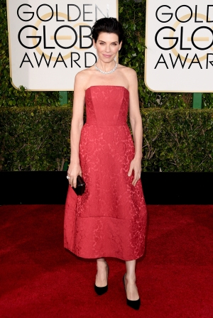 Julianna Margulies in Ulyana Sergeenko with Bulgari jewels and bag