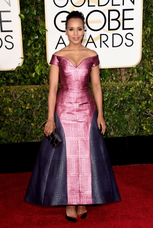 Kerry Washington in custom Mary Katrantzou with Judith Leiber clutch and Christian Louboutin shoes
