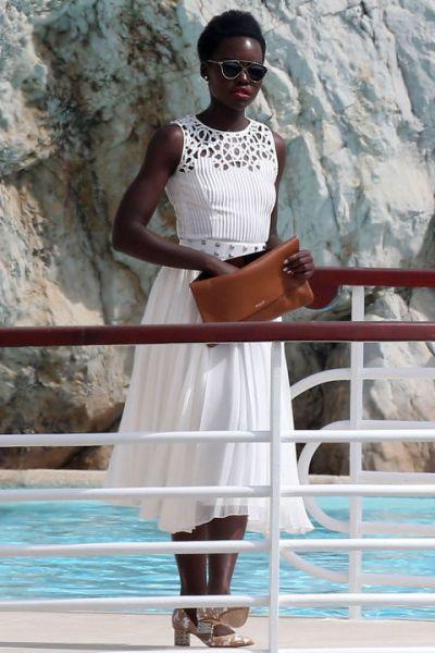 Lupita Nyong'o in Oscar de la Renta - Courtesy of harpersbazaar.com