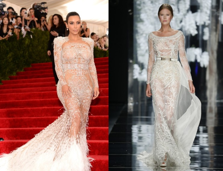 Kim Kardashian at 2015 Met Gala (Courtesy of vogue.com) and Yolancris 2016 Bridal Runway