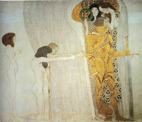 Gustav Klimt's The Beethoven Frieze - The Longing For Happiness, 1901