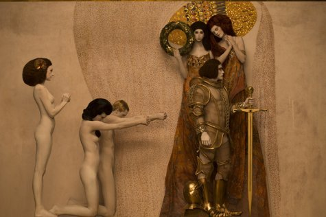 Inge Prader's recreation of Gustav Klimt's Beethoven Frieze - The Longing For Happiness, 1901