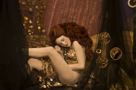 Inge Prader's recreation of Gustav Klimt's Danae, 1907