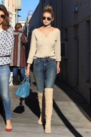 Gigi Hadid in Valentino sweater - Getty Images