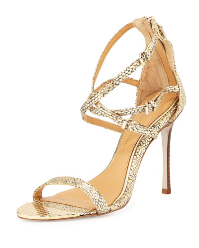 Badgley Mischka Mona Lisa Snake Print Strappy Sandals