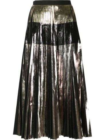 Chloe Grace Moretz in Metallic Pleat Skirt - The Luxe Lookbook