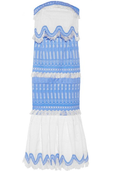 Emily Ratajkowski Strapless blue and white midi dress - The Luxe Lookbook