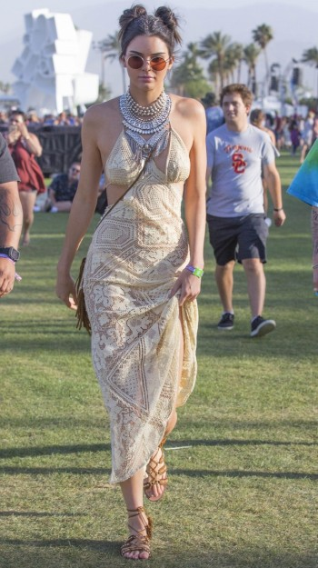 Kendall Jenner in crochet maxi dress at Coachella | The Luxe Lookbook