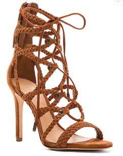 Olivia Culpo tan strappy heeled sandals