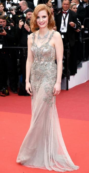 Jessica Chastain in Alexander McQueen - Photo credit David Fisher - REX-Shutterstock - The Luxe Lookbook