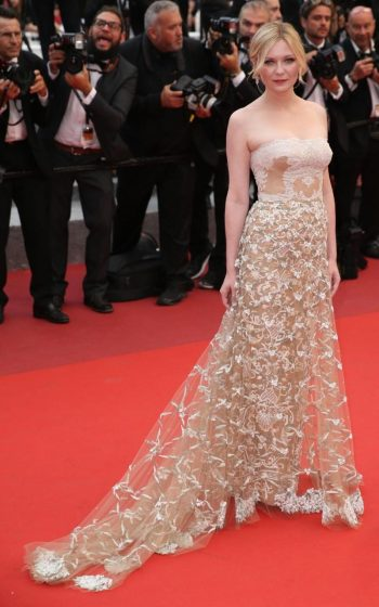 Kirsten Dunst in Valentino and Chopard jewels - Photo credit - James Gourley-REX-Shutterstock - The Luxe Lookbook
