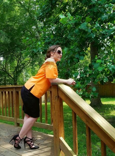 Luxe in Orange OTS Top - The Luxe Lookbook6