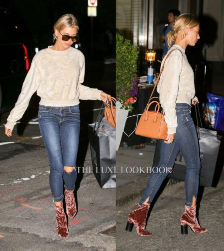 Hailey Baldwin in Velvet Sock Boots - The Luxe Lookbook.png