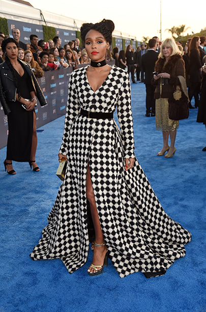 Janelle Monae in checked gown at The 22nd Annual Critics' Choice Awards - Red Carpet