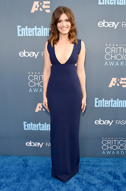 Mandy Moore in blue Solace London gown at The 22nd Annual Critics' Choice Awards - Red Carpet
